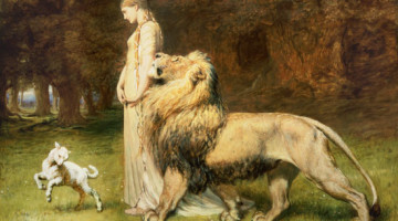 Una and the Lion, from Edmund Spenser's The Faerie Queene (Briton Rivière)