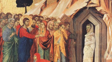 The Raising of Lazarus, by Duccio (ca. 1308-11)