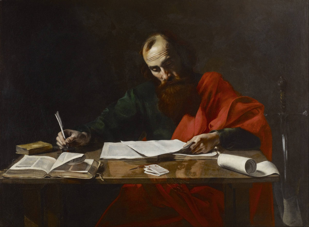 Saint Paul Writing His Epistles, Attributed to Valentin de Boulogne (1591–1632) (From Wikimedia Commons)
