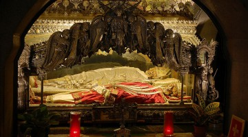 The Relics of St. Ambrose of Milan (in the white vestments) (From Wikimedia Commons)