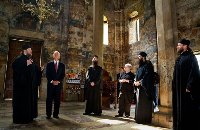 Joe Biden on a tour of Decani Monastery in Kosovo (From Wikimedia Commons)