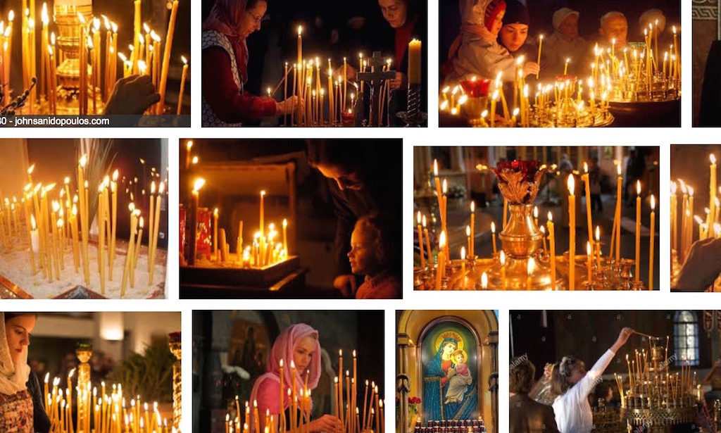 Images of candles in Orthodox churches