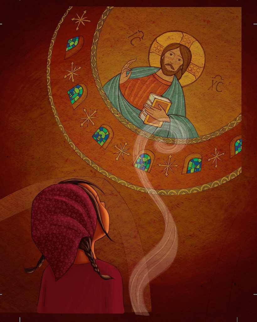 Illustration from In the Candles Glow girl and icon of Christ