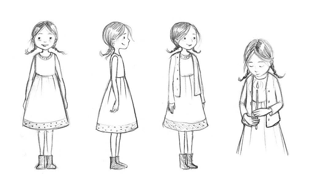 Sketches of Felicia from In the Candles Glow
