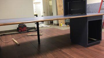 Custom table in studio on new custom floor