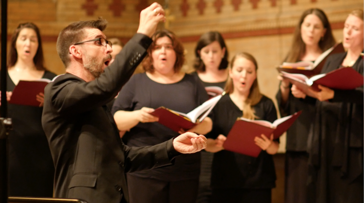 Benedict Sheehan conducting the Chamber Choir of St. Tikhon's Monastery