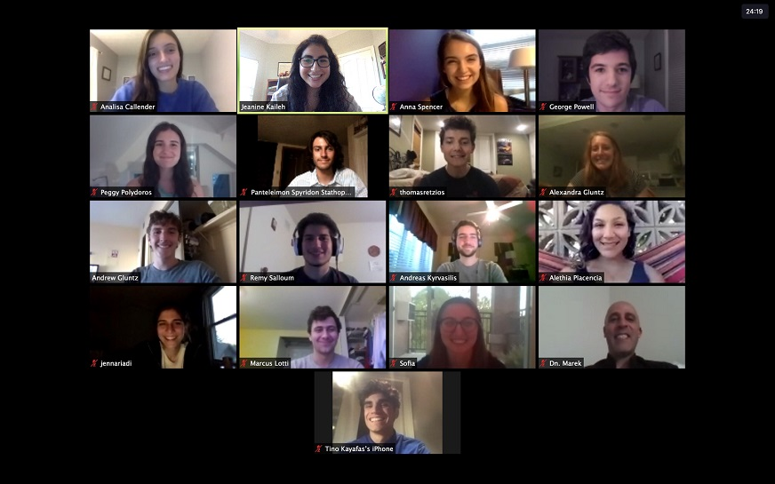 Screen capture of a Zoom meeting with many people participating