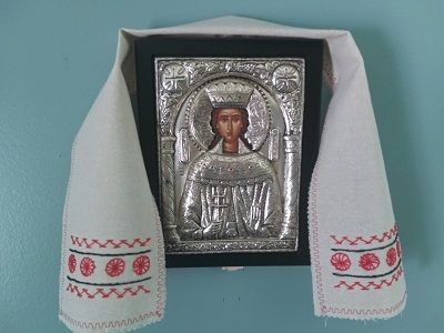 Decorative cloth around a framed icon