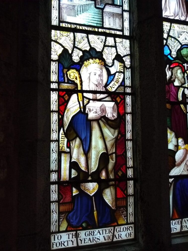 Stained glass window at Morwenstow featuring Saint Morwenna