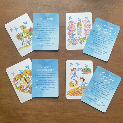 Front and back of sample Love at Lent cards