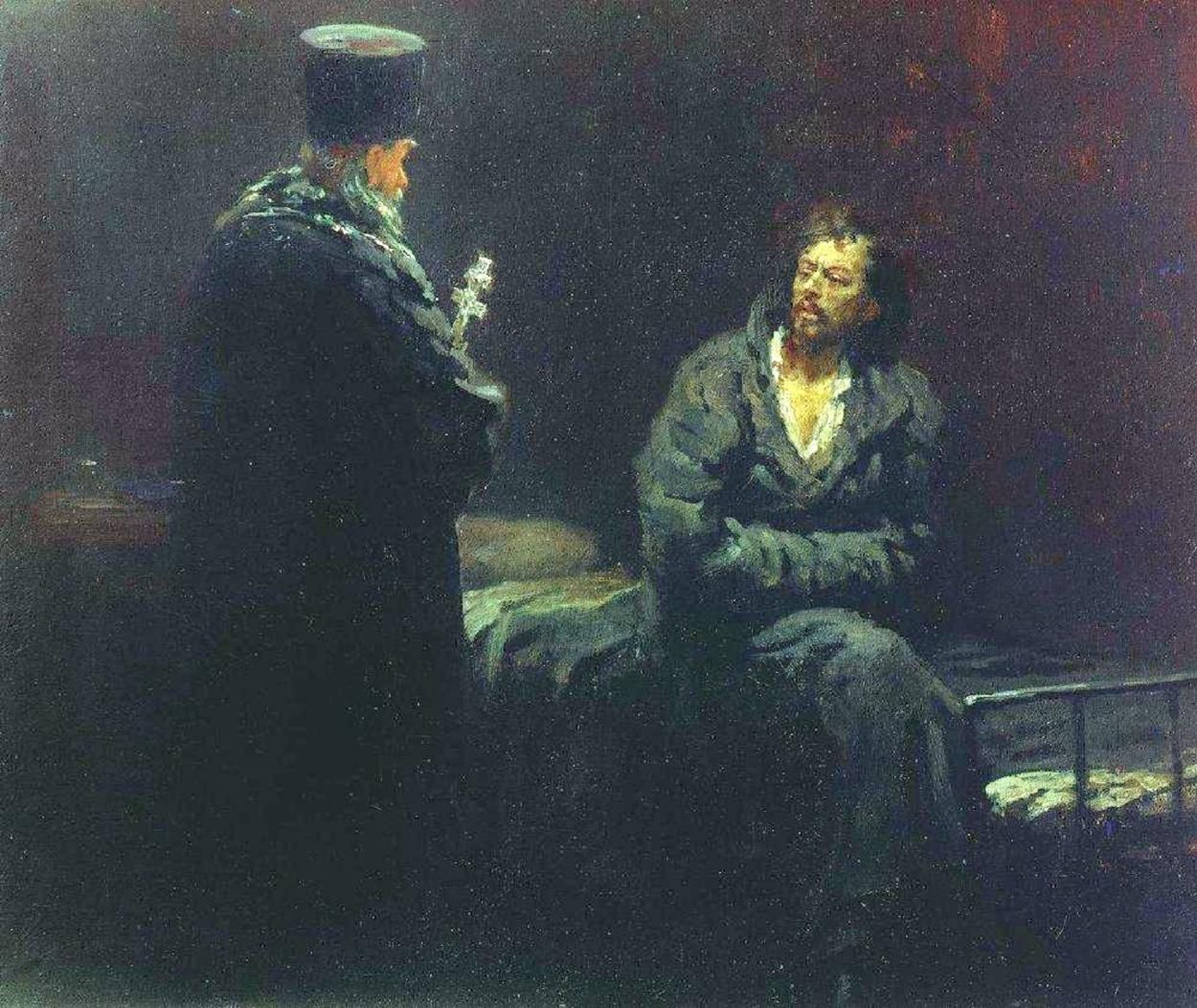 refusing confession by Repin
