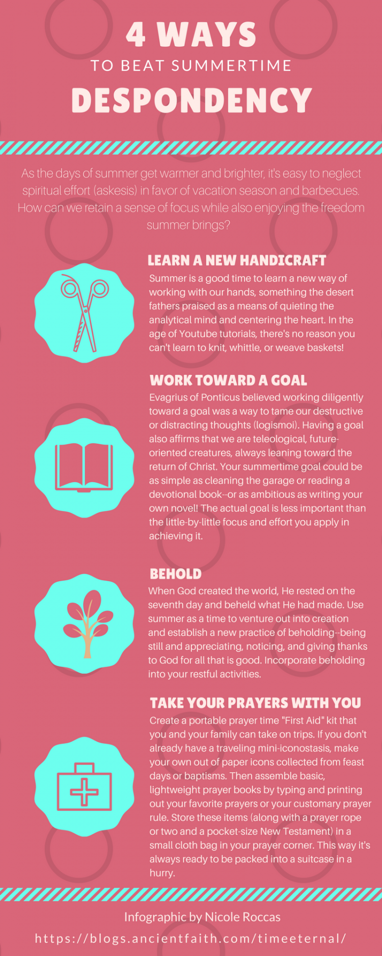 An infographic for Christians about how to beat despondency, depression, or acedia during the summer.