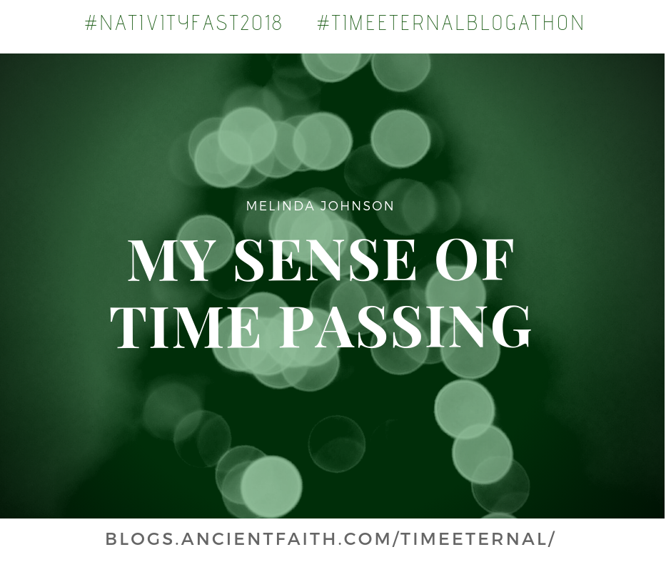 "Title image with blurry christmas tree in background and title of blog in foregrong: ""My Sense of Time Passing"" by Melinda Johnson"