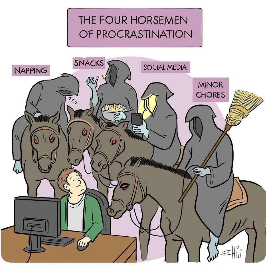 The Four Horsemen of procrastination cartoon